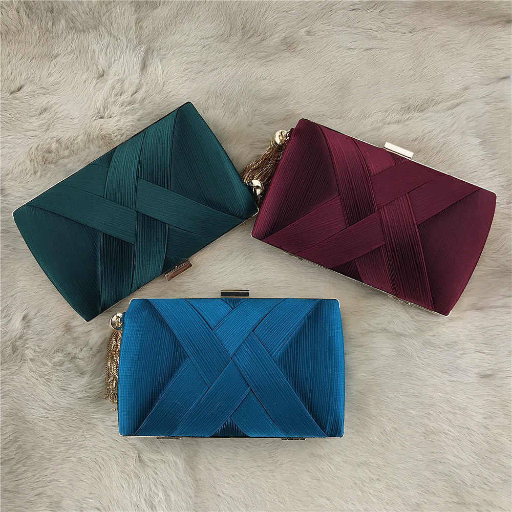 36ab79454077e ... Women Satin Clutch Bag Purple Silver Green Evening Purse Ladies Day  Clutch Tassels Handbag Bridal Wedding ...