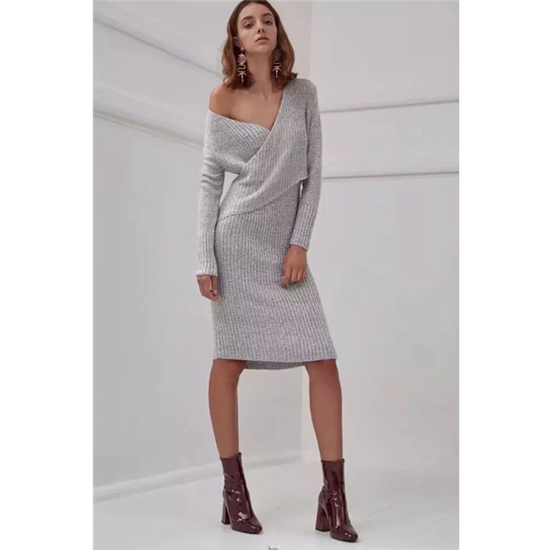 Spring New Knitted Dress Long Sleeve Sexy Low V Neck Women Party Dresses Solid Color Black Fashion Knee Length Slim Dress criss cross slim knitted dress sexy female v neck long sleeve mini dresses charming spring club party bodycon robe dress sws023