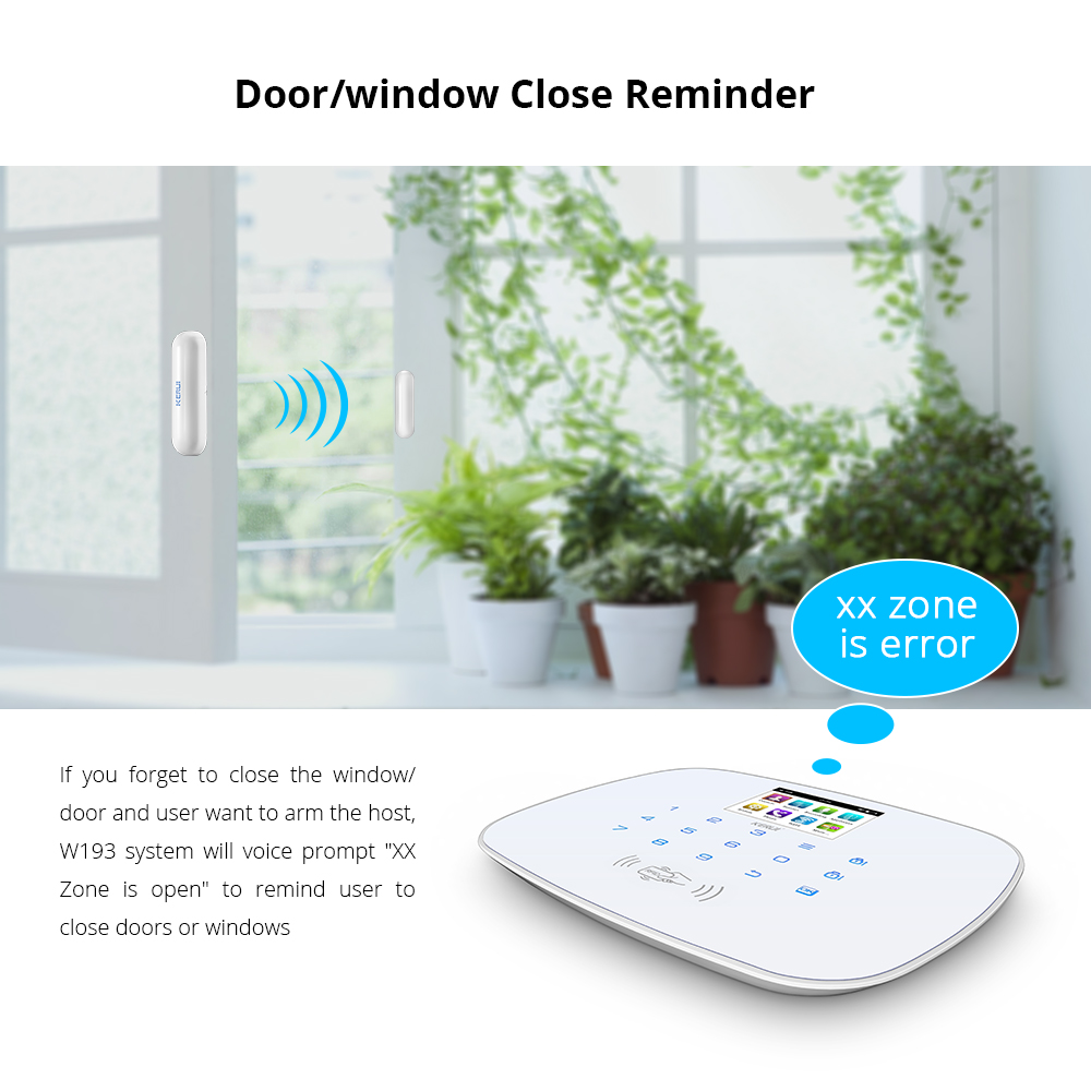 KERUI W193 RFID Card Wireless Burglar Home Security Alarm System WCDMA GSM WIFI PSTN Mode Low Power Reminding White Black Panel