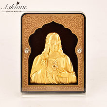 3D Jesus ornament Gold foil Gift Office Table Crafts Car Ornaments Jesus Mini Framed painting Catholic Souvenirs of Jesus Series(China)