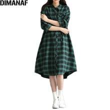 Women Dress Autumn Checker Print Fashion Female Dress Cotton European Plaid Lady Green Casual Clothing Big Size Dresses 2020