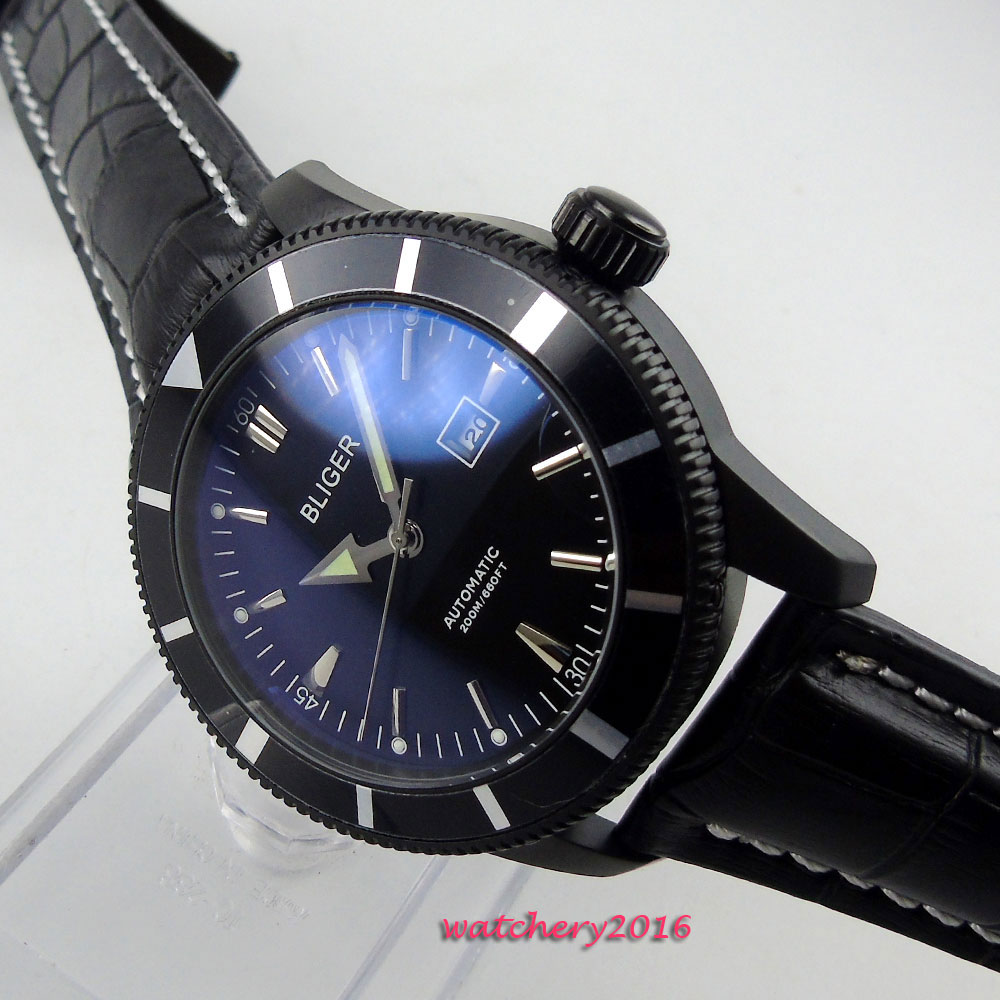 лучшая цена Luxury Brand men's Watch 46mm Bliger black dial PVD case Rotating Bezel Calendar Leather strap Automatic movement Men's Watch