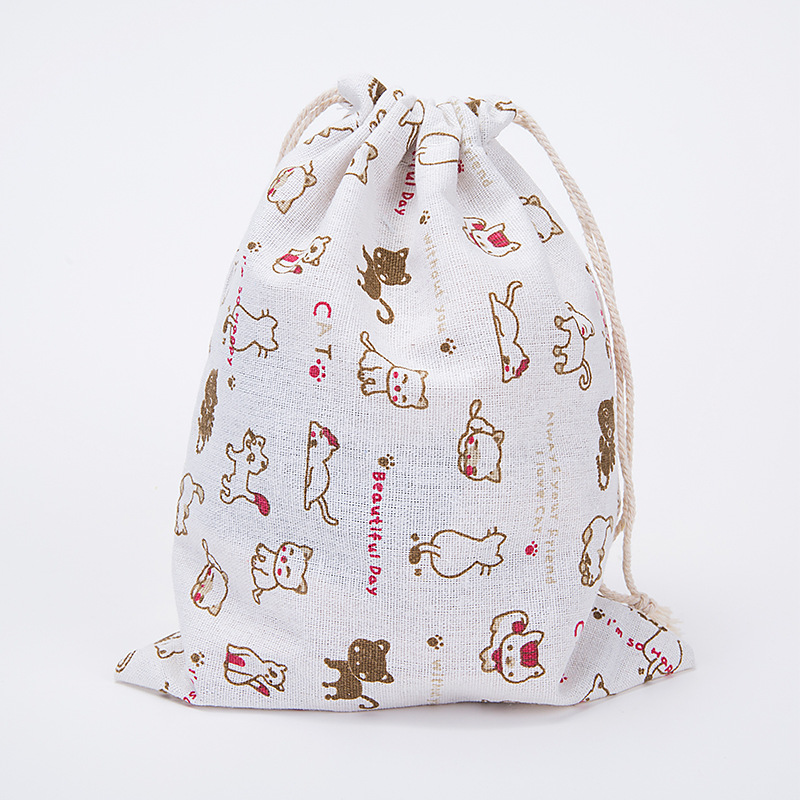 Men And Women Fashion Mini Cosmetic Bag Hard Bag Cotton And Linen Drawstring Printing Bouquet Pull Rope Bag LQ022