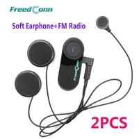 2pcs Soft Earphone Motorcycle Headphone Wireless Bluetooth Intercom Interphone Helmet Headset For Cellphone GPS