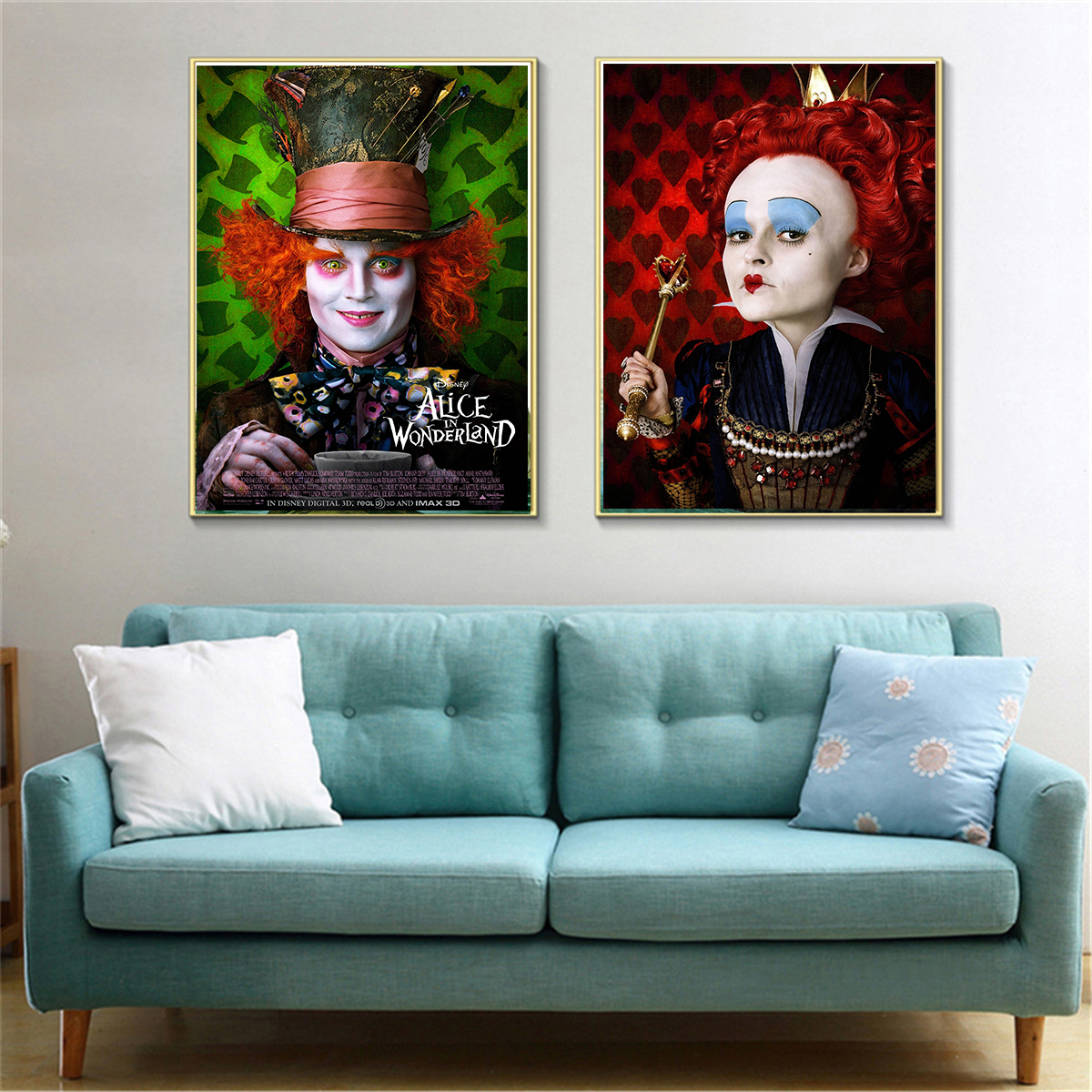 wall art craft canvas pianting poster for movie quadro Alice in Wonderland wall painting for bed room kid room bar pub