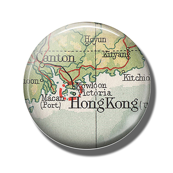 Hong Kong Map 30 MM Fridge Magnet Kowloon Victoria Harbour Map Glass Dome Magnetic Refrigerator Stickers Note Holder Home Decor image