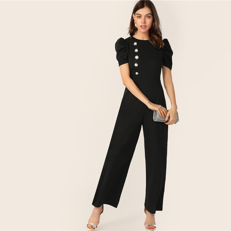 SHEIN Button Embellished Puff Sleeve Wide Leg Jumpsuit Elegant Spring Autumn Women Short Sleeve High Waist Jumpsuit 9