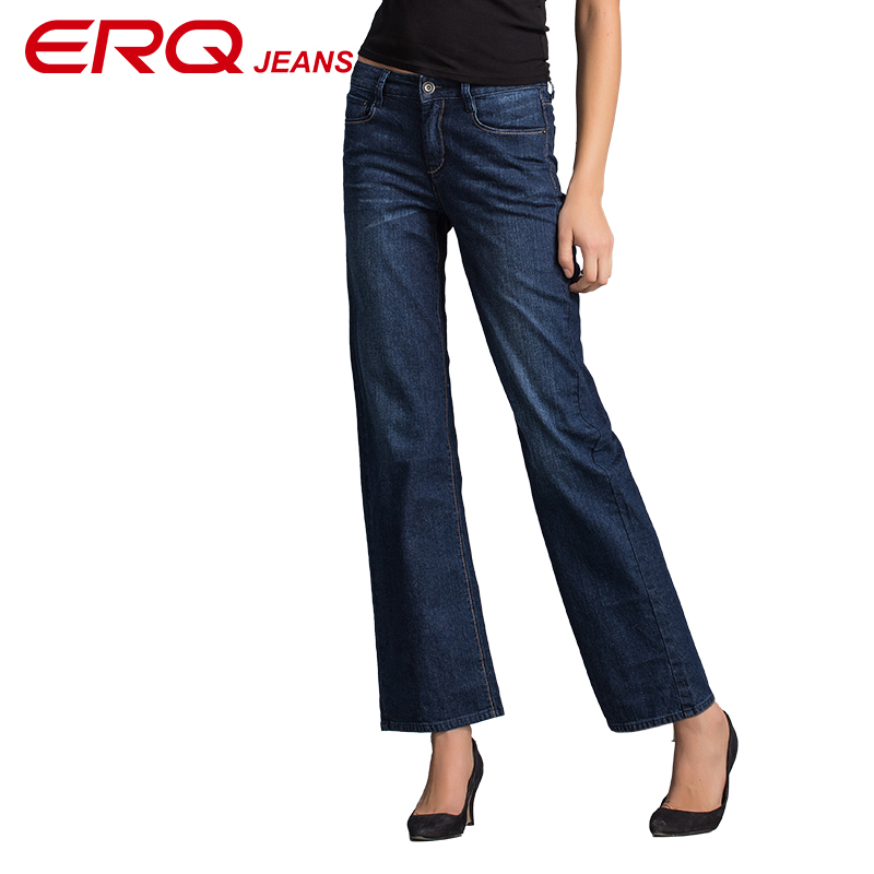 ERQ plus size Straight Jeans women Mid Waist Blue Denim Pants Female Classic Loose Legs Jeans High Quality Jeans Femme 63255 2017 leijijeans jeans women mid elastic dark blue plus size jeans with embroidery pants full length loose style straight fat mm