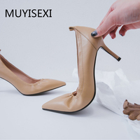 Women High Heel Shoes 7 cm Thin Heels Pumps Lady Sexy Pointed Toe Pink Wedding Shoes Handmade Apricot Beige AMN01 MUYISEXI