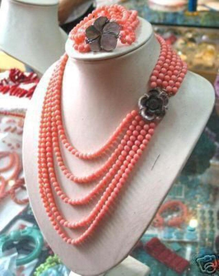 Prett Lovely Women's Wedding 6mm PINK CORAL BEAD NECKLACE 17-21″ BRACELET 7.5″ SET