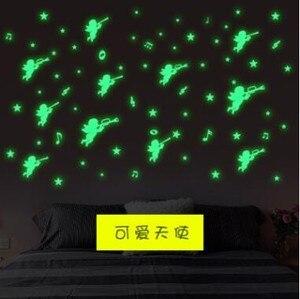 Darmowa wysyłka anioł świecąca naklejka na ścianę naklejki salon sypialnia dekoracja dziecka lodówka naklejki fluorescencyjne
