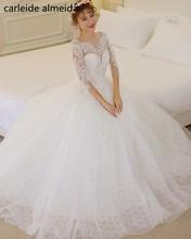 Vestido de Noiva Tulle & Vestido de Noiva de Renda Buraco Da Fechadura de Volta vestido de Baile vestido de Noiva Vestido Matrimonio