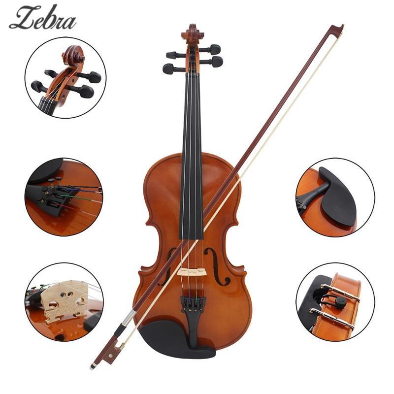 Zebra Natural Color 4/4 Solid Wood Violin Bright Eucalyptus Violin Beginners Practice Performances Popular Violin With Box