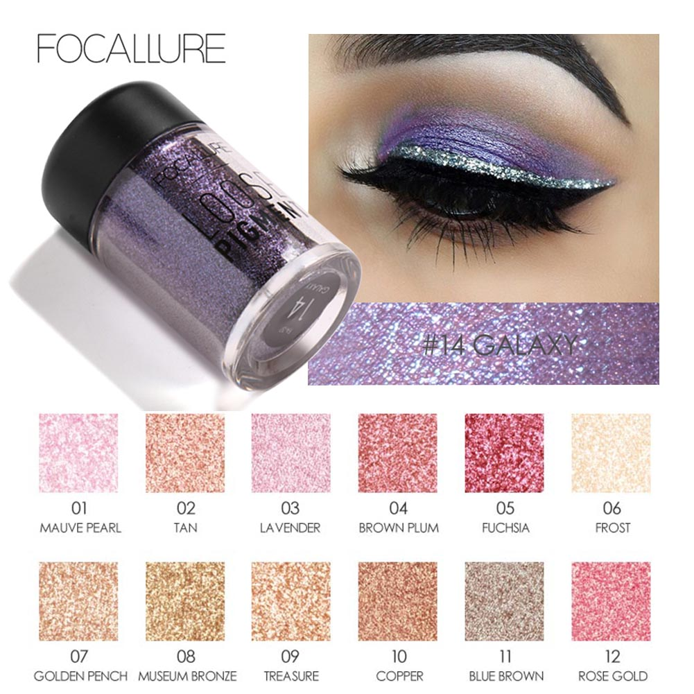 FOCALLURE 18 Colors Glitter Eyeshadow Powder Waterproof Loose Shimmer Eyeshadow Pigment Powder 3D Nude Metallic Eyeshadow Powder