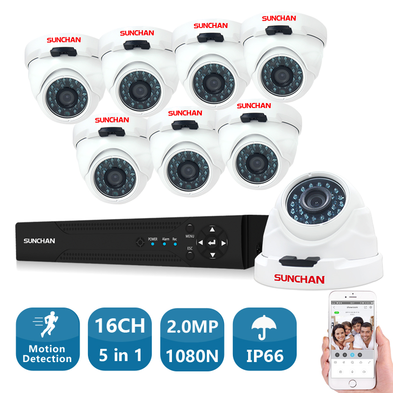 SUNCHA 16ch CCTV Camera Security System 16 Channel 1080N DVR 8*1080P HD Cameras Indoor & Outdoor Video Surveillance DVR Kit full hd 16 channel 1080p ahd dvr kit 16pcs video surveillance security outdoor indoor 720p camera 1 0mp camera 16ch cctv system