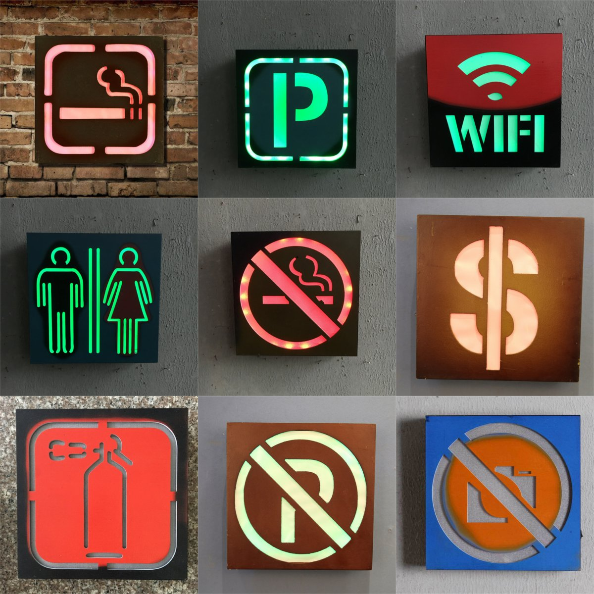 LED MDF Sign Light Retro Plaque Poster Bar Pub Home Wall Decoration Battery Powered Light Box Board Commercial Lighting 24x24cm