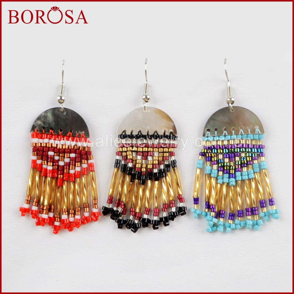 BOROSA 15Pairs Half Moon Abalone Shell Beads Tassel Earrings for Women High Quality Dangle Earrings Jewelry WX976
