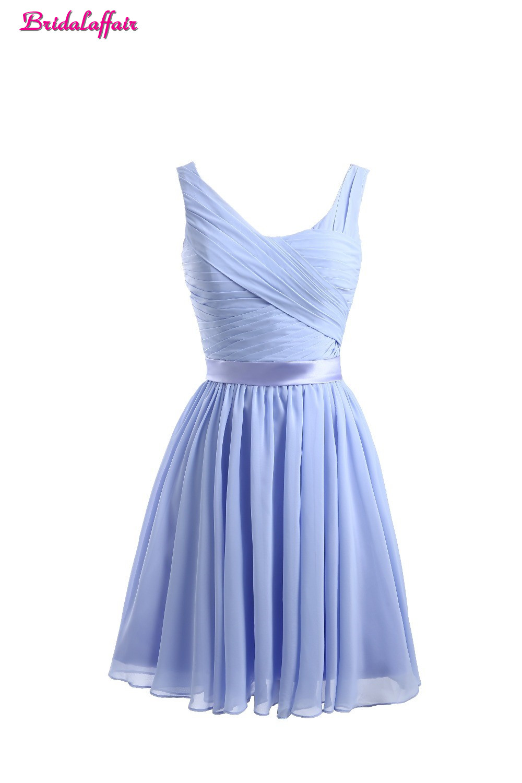 Bridalaffair Real Photo Light Purple Chiffon   Prom     Dresses   2017 Elegant Sexy Party Gowns Robe De Cocktail V Neck Short   Prom     Dress