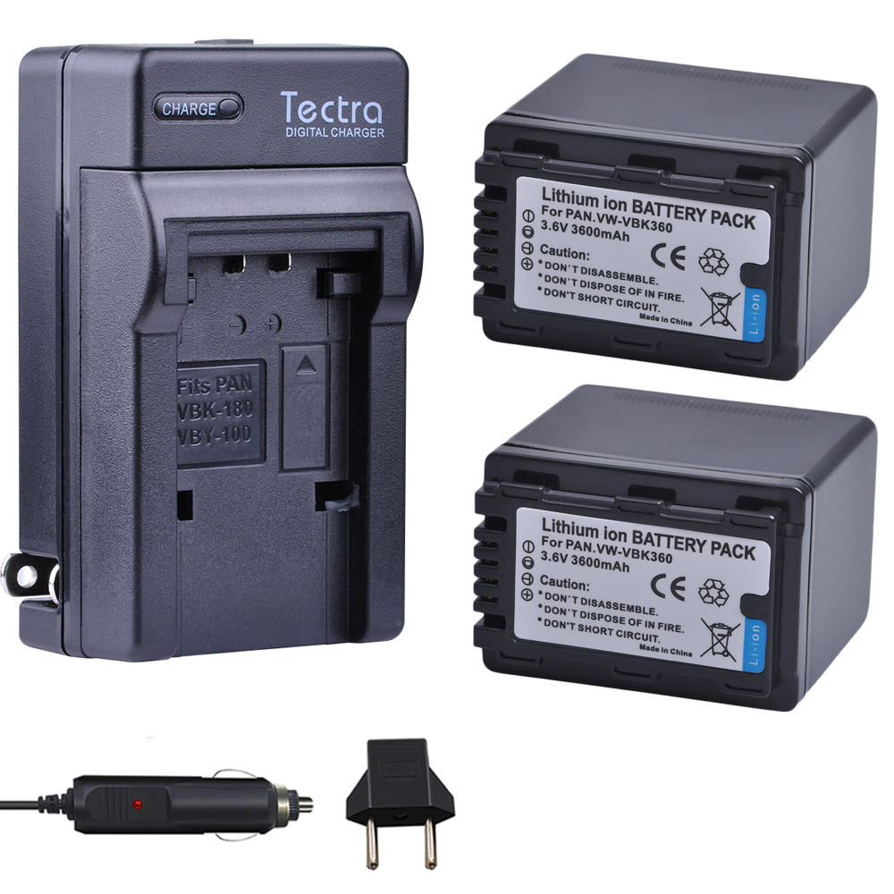 Tectra 2 unids VW-VBK360 VBK360 batería + cargador Digital para Panasonic HDC-TM40 HDC-TM41 HDC-TM55 HDC-TM60 HDC-TM80 HDC-TM90 SD40