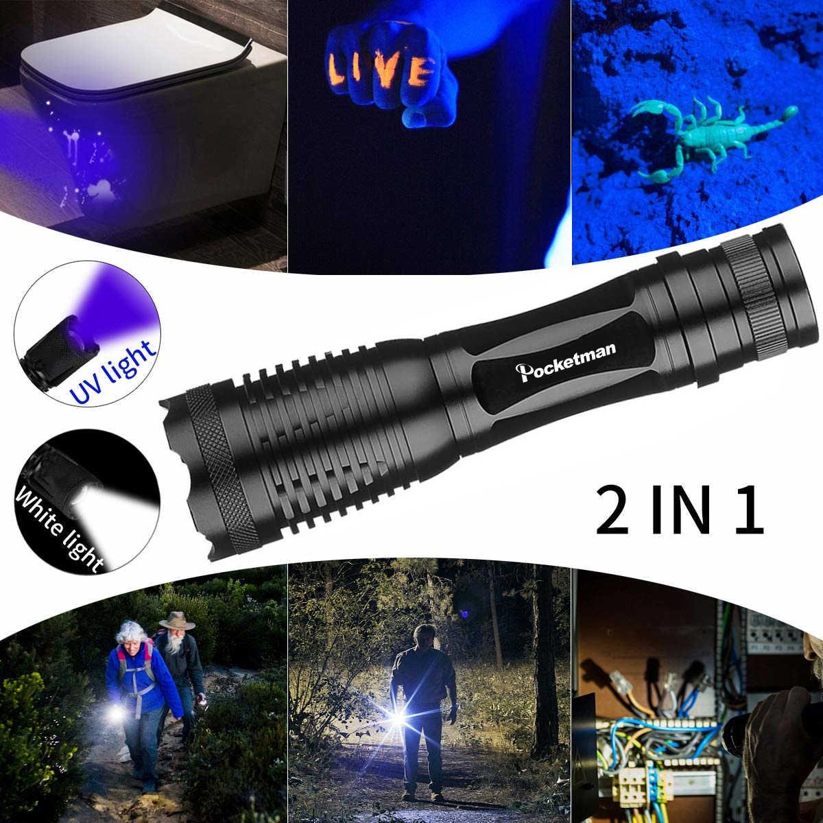 2 в 1 УФ фонарик светодиодный Linternas факел 395nm УФ Определитель мочи для кемпинга пеший Туризм ковры Pet мочи поймать скорпионы