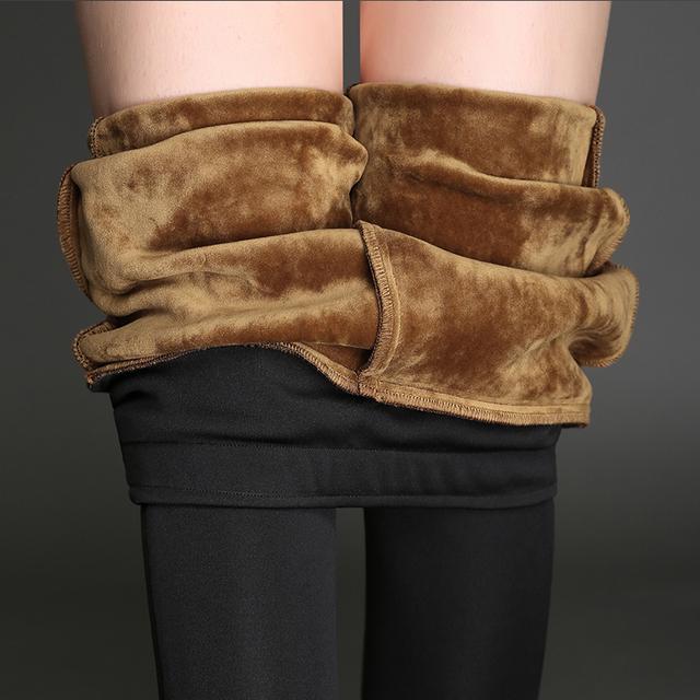 De invierno Pantalones de Las Mujeres Pantalones de Las Polainas de Terciopelo Lápiz Pantalones Casuales de Fondo Mujer Gruesa Caliente Más El Tamaño 4XL Altura de Vino Negro de La Cintura