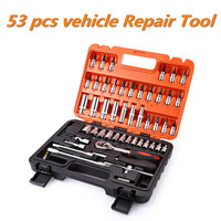 53pcs Automobile Motorcycle Car Repair Tool Box Precision Ratchet Wrench Set Sleeve Universal Joint Hardware Tool Kit For Car