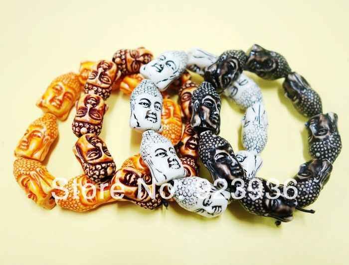 משלוח חינם 4 יחידות חיוך בודהיסטי בודהה שאקיאמוני עצם יק Biker מערבבים צבע צמיד צמיד קמע