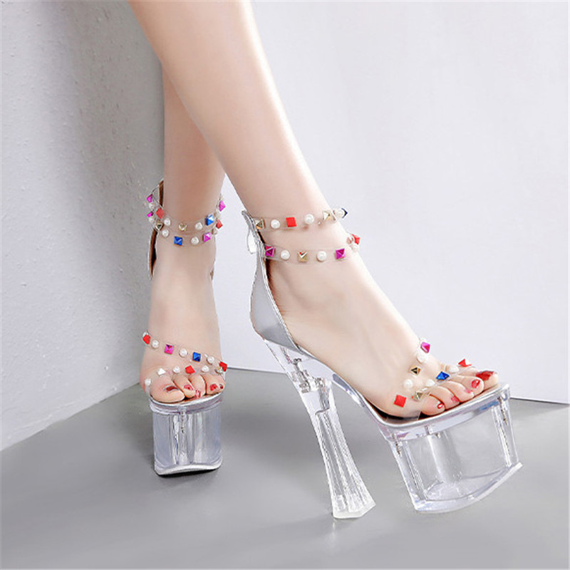 Fashion Rivet Extremely High Heels Women Sandals Sexy Transparent Shoes Summer Women Pumps Clear Heel Ladies Shoes
