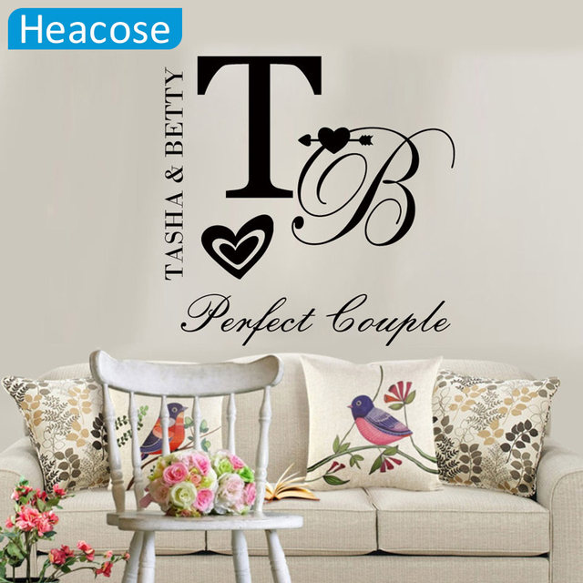 Personalized Couple Name Wall Sticker DIY Quote,perfect Couple,Customized  Name Love Wall Decals Vinyl Art Home Decor For Wedding