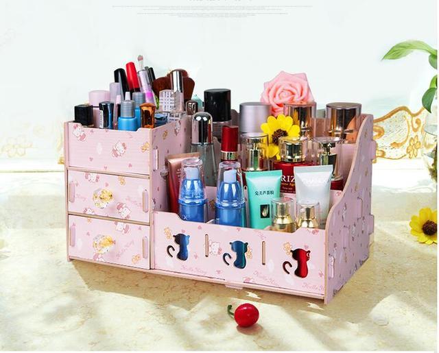 Attractive Mini Three Small Drawer Wooden Cosmetics Receive A Case Storage Cabinet