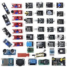 Dla arduino 45 w 1 czujniki moduły zestaw startowy lepiej niż 37in1 zestaw czujników 37 w 1 zestaw czujników UNO R3 MEGA2560 tanie tanio Nowy electronic module 45 in 1 Sensors Modules