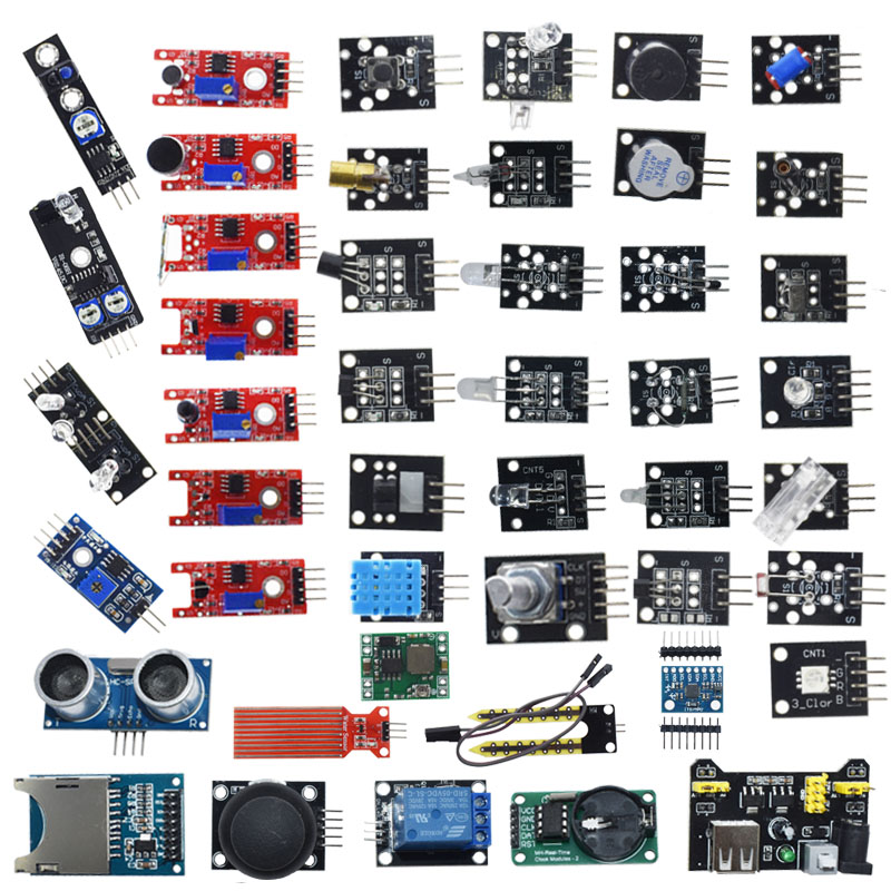 For arduino 45 in 1 Sensors Modules Starter Kit better than 37in1 sensor kit 37 in 1 Sensor Kit UNO R3 MEGA2560Integrated Circuits   -