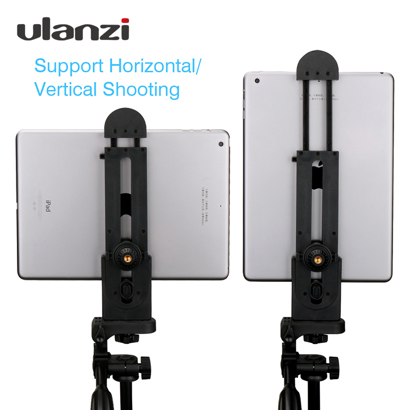 Ulanzi for iPad Tablet Tripod Aluminum Mount 5-12'' Universal Stand Clamp Adjustable Vertical Bracket Holder Adapter 1/4 universal cell phone holder mount bracket adapter clip for camera tripod telescope adapter model c
