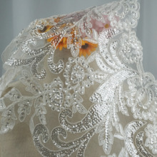 5 yards Embroidered wedding lace sewing accessories Luxurious NEW Sequin trim in Ivory color