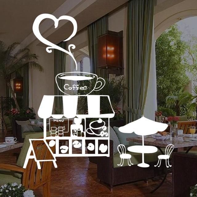 Window stickers coffee shop pub bar romantic casual for Coffee shop mural