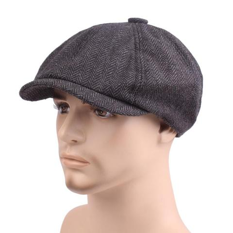 2018 New Tweed Gatsby Newsboy Cap Men Autumn Winter Hat Golf Driving Flat Cabbie Flat Berets Hat Peaky Blinders Hat Bone Unisex Multan