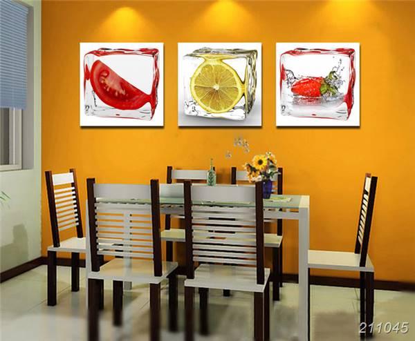 US $9.99  3 Panel Moderne Wandkunst Leinwand Esszimmer Wand Dekorative  bilder Ice Obst Ölmalerei Auf Leinwand Küche Room Decor Ft240-in Malerei  und ...