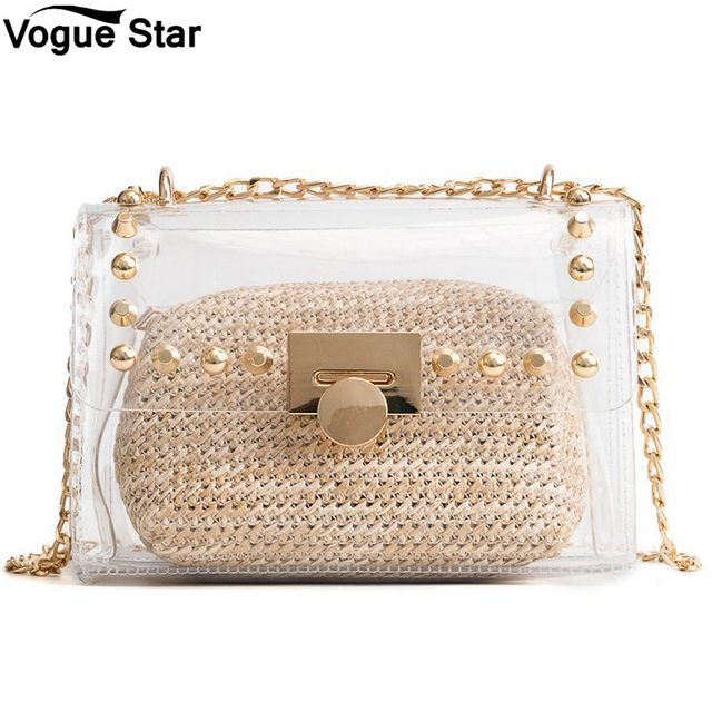 Transparent Straw Purse Beach Bag Clear Plastic Handbags 2018 Summer Women Messenger Composite Bags Rivet