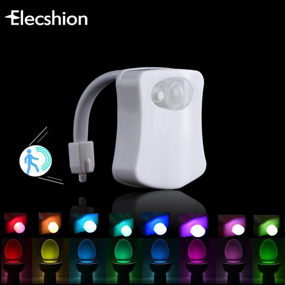 Elecshion LED Сенсор Туалет ночь свет человеческого движения Активированный ПИР 8 16 Цвет Авто Батарея управлением Ванная комната Автоматическая RGB лампа