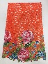 Гипюровая кружевная ткань, оранжевый шнур, кружево, водорастворимое кружево, вышитые аксессуары для платья, кружевная ткань зеленого цвета, дешево