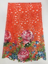 Guipure Lace Fabrics Orange cord Lace Water Soluble Lace Embroidered Dress Accessory Green color Lace Fabric Cheap K J2782