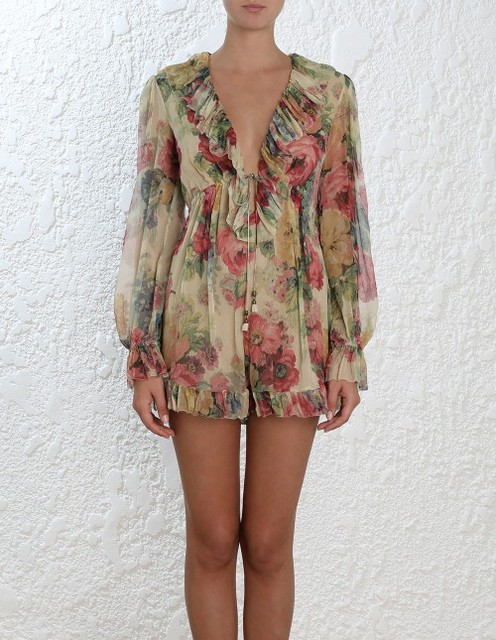 41561f12a3c9 2018 Resort 100% silk Taupe Floral Print MELODY FLOATING PLAYSUIT deep V-neck  Ruffles full length Sleeves Elastic Waist Belted