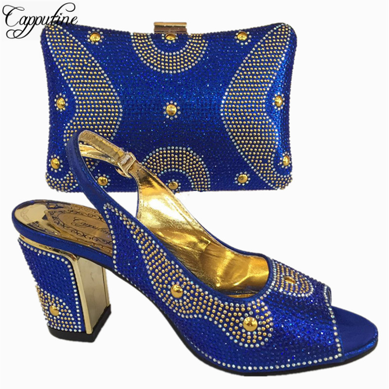 Capputine Royal Blue Color Italian Matching Shoes And Bag Set For Wedding Nigerian Style Women Party Shoes And Bag Set BL765C capputine african style shoes and bag to match high quality italian shoes and bag set nigerian party shoe and bag set wedding
