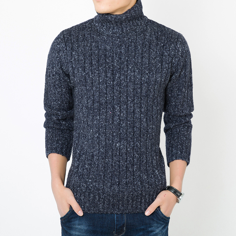 MRMT 2019 Brand New Men's Sweater Thickened Turtleneck  Pure Color Leisure Sweater For Male Self-cultivation Wool Knitwear