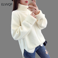 Autumn Winter Women Sweater 2018 New Long Sleeve Loose Large size Turtleneck Knitted Pullover Thick warm Sweater Women TopsLF082