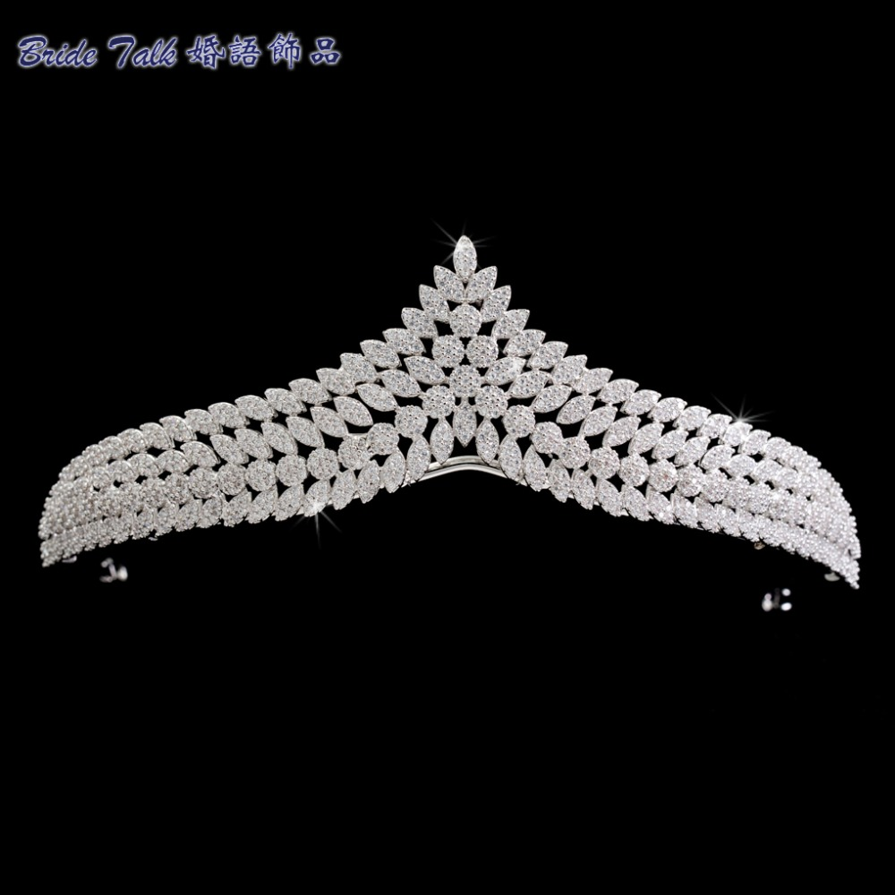 BridalTalk Full 5A CZ Cubic Zirconia Wedding Bride Leaves Tiara Crown Hair Jewelry Accessories Rhinestone Crystals Tiaras S16238 03 red gold bride wedding hair tiaras ancient chinese empress hat bride hair piece