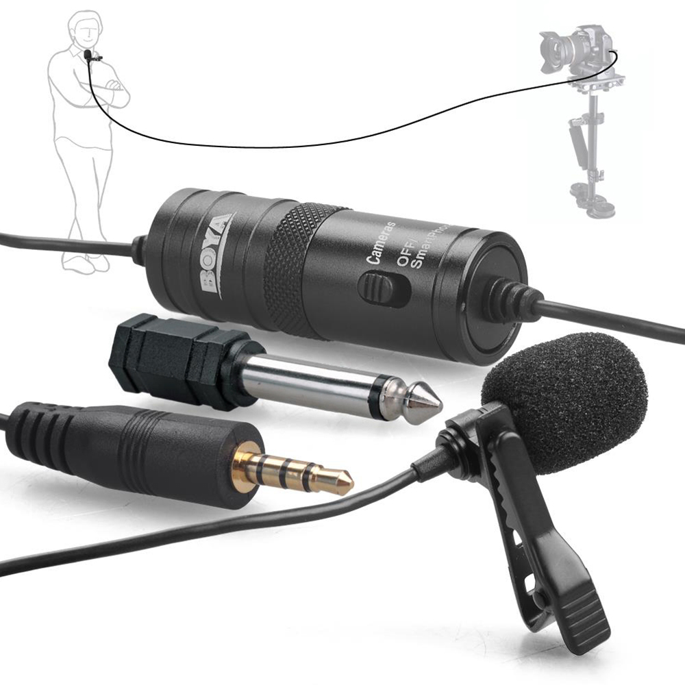 BOYA BY-M1 Lavalier Omnidirectional Condenser Microphone for Stereo DSLR Canon Nikon iPhone Camcorders Broadcasting Recording