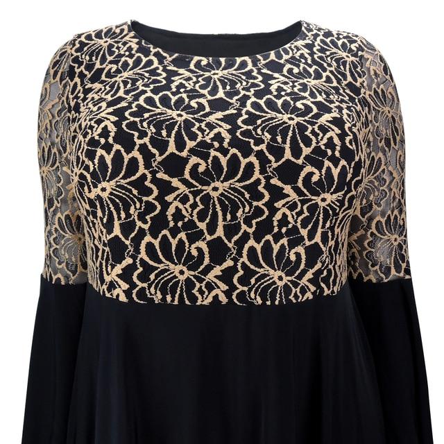 YTL Women Plus Size Tunic Retro Gold Lace Top V Neck Patchwork Flare Sleeve Blouse Spring Autumn Female Black Shirt 7XL 8XL H122 3