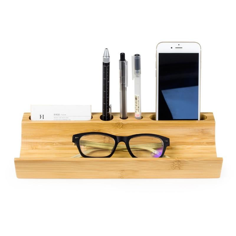Classique en bois massif de bureau boîte de rangement En Bambou bureau en bois Étagères De Rangement porte-stylo Mobile support pour téléphone