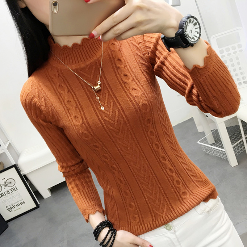 Korean Winter Sweater Female Half Turtleneck Sleeve Head Bottoming Shirt Short Slim Slim Knit Thickened Solid Twist